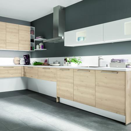Nobilia New York Riva Oak Style and White Kitchen Cabinets