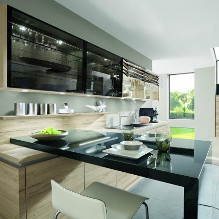 Nobilia Riva Cabinets Wood Look with Black High Gloss